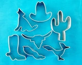 Southwestern Cookie Cutters Cactus, Cowboy Hat, Boot, Coyote, Steer, Roadrunner, Hot Pepper Cookie Cutters