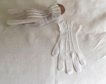 Vintage antique crochet White cotton gloves