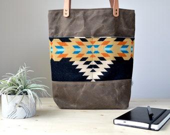 Tote Bag with Rancho Arroyo Pendleton® Wool Fabric / Shoulder Bag with Pendleton® Wool Fabric