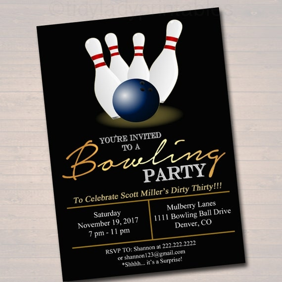 EDITABLE Adult Bowling Party Invitation Birthday Invitation - Editable birthday invitations for adults