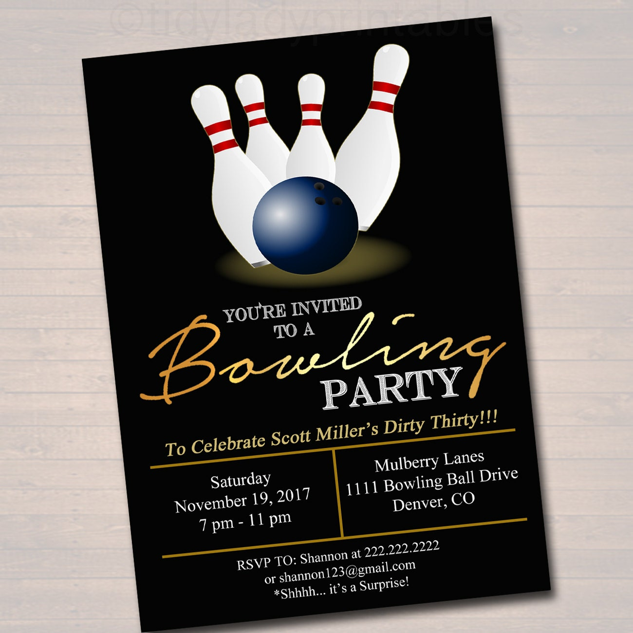 EDITABLE Adult Bowling Party Invitation Birthday Invitation