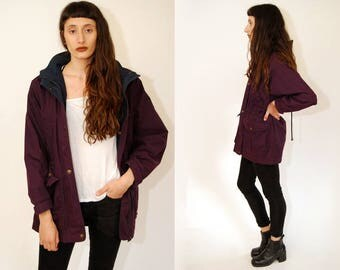 vintage HIKING JACKET (S) dark purple 90s flannel lined fitted drawstring waist women small hood camp outdoor raincoat rain coat waterproof