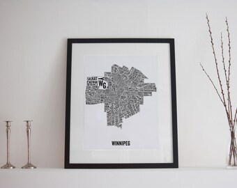 Winnipeg Manitoba City Map Poster - Winnipeg Art - Winnipeg Map - Typography Map