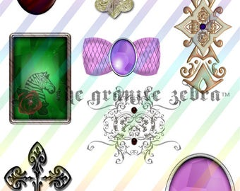 Bits and Baubles Jewel Collage Sheet Digital Download