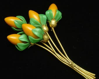 Large Brooch Pin Orange Blossoms Bouquet Green Leaves