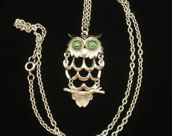 Owl Necklace Vintage Articulated Pendant Green eyes
