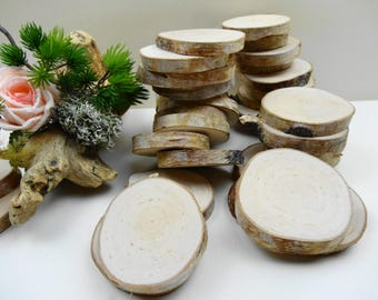 "2.5""-3"" Wood Slices,Birch Tree Slices, Rustic Wedding Decor,DIY, Woodworking,Birch Tree Slices, Birch Wood, Crafts Wood, (F21) Set of 15"