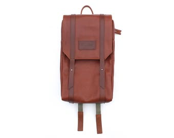 Cognac leather rucksack backpack, Classic daily business bag, Minimalist women purse, Mens fashion, Light brown leather stylish backpack