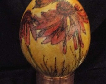 Coneflower and Butterfly - Decorated Egg Gourd, shelf sitter, decor, small gourd, wood burned, earthy, alcohol ink, artisan designed