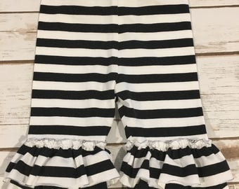 SALE! 12 month ruffle capris - ready to ship - black and white stripe ruffle capris
