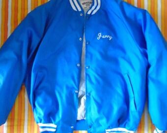 Blue Vintage Mens Bomber Jacket XL