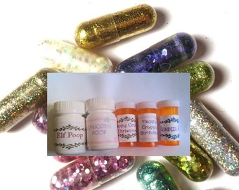 Glitter Pills, Glitter Pill, Sparkle Pill, 8 Pills, add a bottle, Unusual Gift, Funny Gift, Gag Gift, Birthday Gift, white elephant gift
