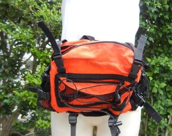 vintage Orange Black GAP Retro extra large Hiking zippered fanny pack w/ multiple compartments adjustable strap