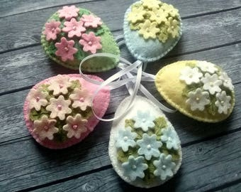 Tiny Flower Easter eggs, Pastel Easter ornaments, Felt Easter decoration, Easter flower eggs floral eggs, choose 1 egg