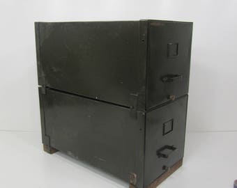 Vintage Industrial Metal File Cabinet, Army Green Stacking Filing Cabinet, Filing Drawer, Industrial Decor, Side Table with Storage