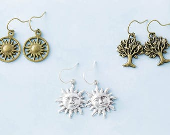 Sun and Tree Nature Charm Earrings Set, Celestial Jewelry, Nature Jewelry Set, Nature Lovers Gift