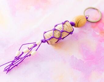 Recycled Wine Cork Macrame Beaded Tassel Keychain Purple, Wine Lovers Gift