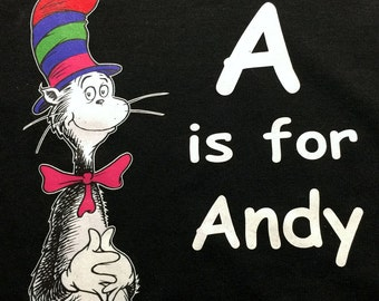Custom T-Shirt:  Cat in the Hat Childs Name Tshirt