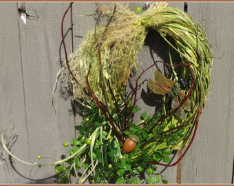 Dried Flower Wreath, Spring Wreath, Woodland Wreath,  Dragonfly Wreath, Boho Home Decor, Handmade Grass Wreath
