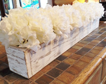 "WEDDING CENTERPIECE - Premium Cream Hydrangea Blooms ""Planted"" in a 36-Inch Long Handcrafted Wooden Box - Other Flowers Available"