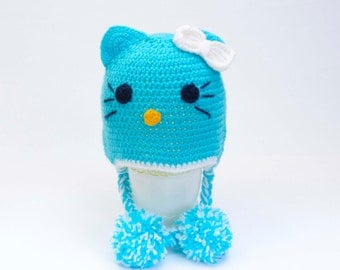 Crochet baby cat hat , Aqua cat Hat, Toddler hat ,children hat ,Newborn hat ,toddler crochet hat ,baby hat , with removable flowers