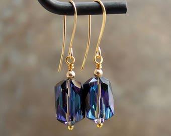 Austrian Crystal Earrings - Vintage Crystal Earrings - Bermuda Blue Crystal - Purple Blue Earrings - Gold Dangle Earrings