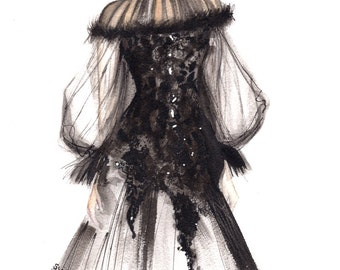 Black dress. An art reproduction