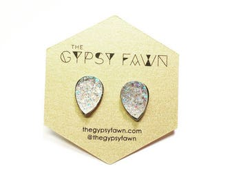 Thick Iridescent Teardrop Shaped Galaxy Druzy Stud Earrings
