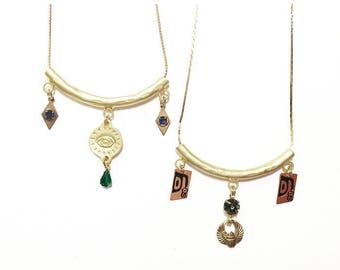 Gypsy Charmer Bohemian Charm Necklace with Stars, Arrowhead, Vintage Gems, and Evil Eye Charms