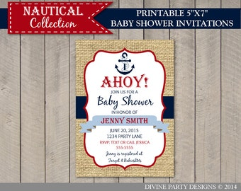 PERSONALIZED Nautical Boy 5x7 Printable Baby Shower Invitation / Ocean / Nautical Boy Collection ...