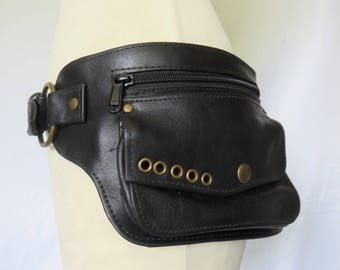 Money belt - travel pouch in Black Leather