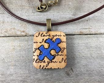 Autism Awareness-I Love You-Autism Mom-Autism Jewelry-Puzzle Piece Pendant-Wooden Jewelry