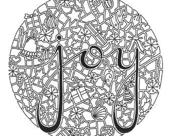 joy digital download coloring page