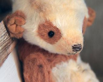 Artist teddy bear Panda ooak handmade vintage brown white