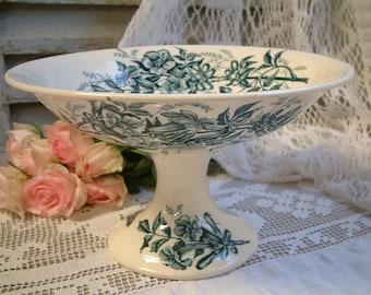 Antique french teal transferware large compote dish. Cake stand. Teal transferware. Jasmine. Butterflies. Blue green transferware.