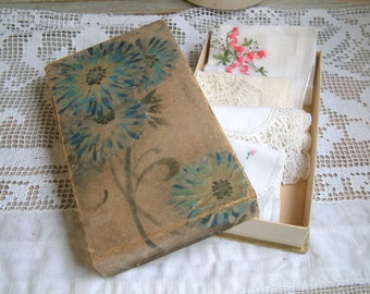 Antique french glove box with hand painted blue flowers. Antique paper handkerchief box. Lace. Ribbon. Antique paper box. French cottage