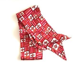 Vintage Scarf Tie Headband Hairband Hot Pink Red Geometric Pattern 1960s Peggy Olsen Scarf Stewardess Tie