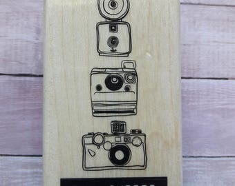 Say Cheese Polorid Camera Wood Mounted Rubber Stamp Scrapbooking & Paper Craft Supplies