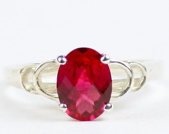 Created Ruby, 925 Sterling Silver Ring, SR300