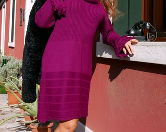 90 vintage wool dress with Turtleneck Fuchsia
