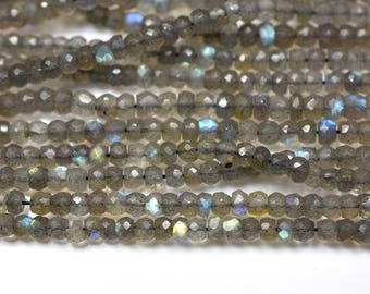 AAA Strong Fire 13 Inch 4-5mm Natural Fire Labradorite Faceted Rondelle Beads Strand/Labradorite Rondelles/Labradorite Beads(0545,46,47)