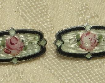 Pretty little Art Deco era sterling silver guilloche enamel rose lingerie sash pin brooch set pair