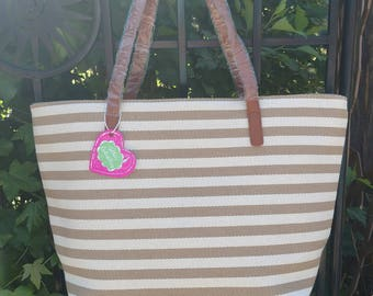 Khaki and White Striped Tote, Personalized Tote, Monogrammed Tote, and More!