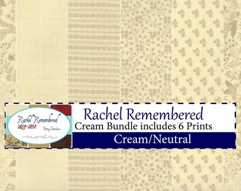 Rachel Remembered Cream Bundle includes 6 prints by Betsy Chutchian for Moda Fabrics