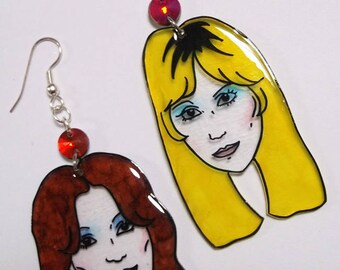 ABBA Agnetha and Frida 70s Dancing Queen kitsch illustrated shrink plastic earrings