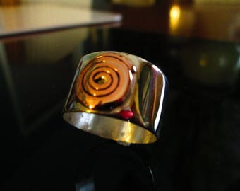 Extra Wide Sterling Silver Band with Copper Wire Swirl