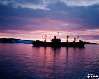 Kodachrome 35mm slide ~ Antarctic ship & sunset ~ abstract view