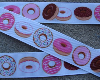 "Doughnut ribbon 7/8"" donut ribbon breakfast ribbon sweet ribbon Cooking grosgrain hair bow ribbon by the yard supplies"