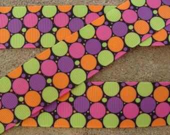 """3 yards Colorful Polka Dots Ribbon 1"""" Grosgrain Ribbon Rainbow Polka Dots Printed Hair Bow Ribbon"""