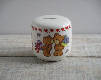 Vintage Valentine Bear Bank ~ 80's Ceramic Studio Nova Piggy Bank ~ Valentines Day Bears Hearts Flowers Gift (B7)